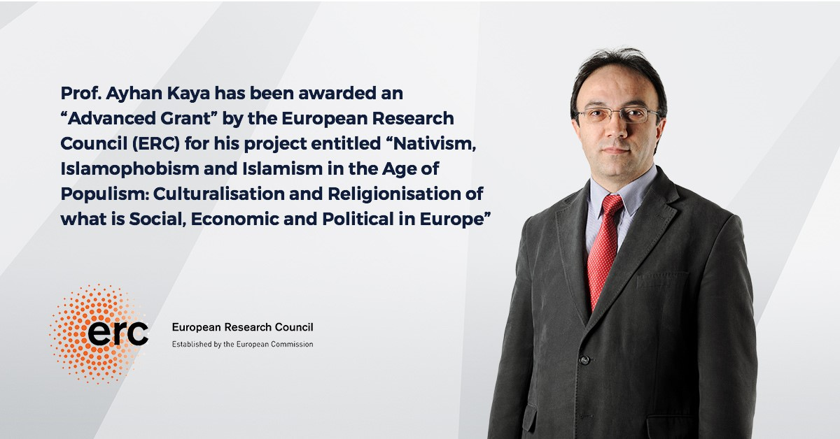 "Prof. Ayhan Kaya has been awarded an ""Advanced Grant"" by the European Research Council (ERC)."